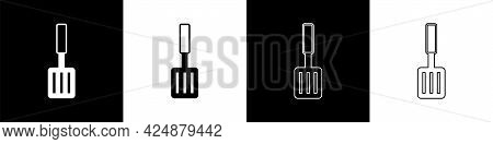 Set Barbecue Spatula Icon Isolated On Black And White Background. Kitchen Spatula Icon. Bbq Spatula