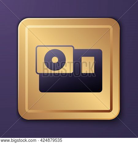Purple Action Extreme Camera Icon Isolated On Purple Background. Video Camera Equipment For Filming