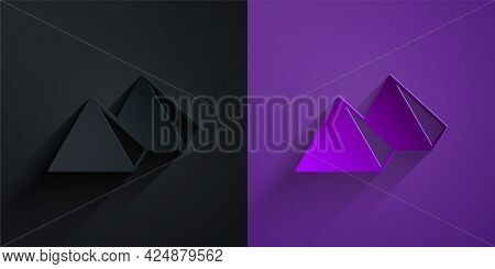 Paper Cut Egypt Pyramids Icon Isolated On Black On Purple Background. Symbol Of Ancient Egypt. Paper