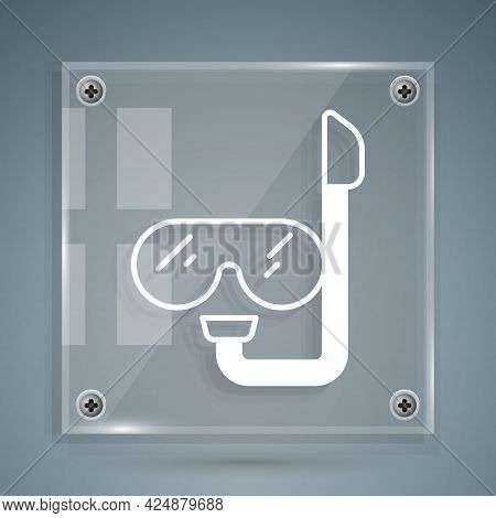 White Diving Mask And Snorkel Icon Isolated On Grey Background. Extreme Sport. Diving Underwater Equ