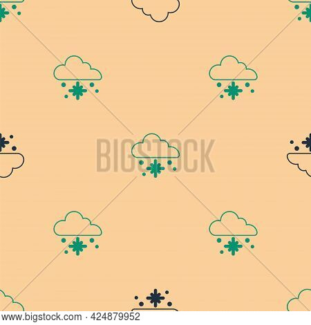 Green And Black Cloud With Snow Icon Isolated Seamless Pattern On Beige Background. Cloud With Snowf