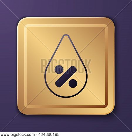 Purple Water Drop Percentage Icon Isolated On Purple Background. Humidity Analysis. Gold Square Butt