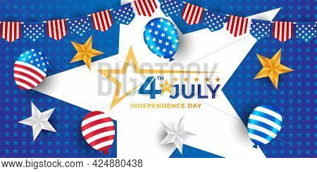 Happy 4th of July. US Independence Day Vector Design Background. 4th of July Happy Independence Day Poster. Fourth of July Independence Day. Fourth of July vector background design. USA Independence Day banner background Vector illustration.