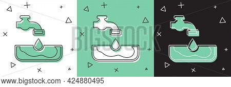Set Water Problem Icon Isolated On White And Green, Black Background. Poor Countries Environmental P