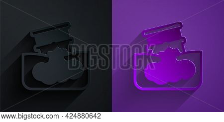 Paper Cut Barrel Oil Leak Icon Isolated On Black On Purple Background. Paper Art Style. Vector