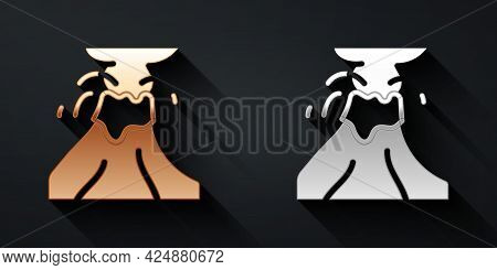 Gold And Silver Volcano Eruption With Lava Icon Isolated On Black Background. Long Shadow Style. Vec