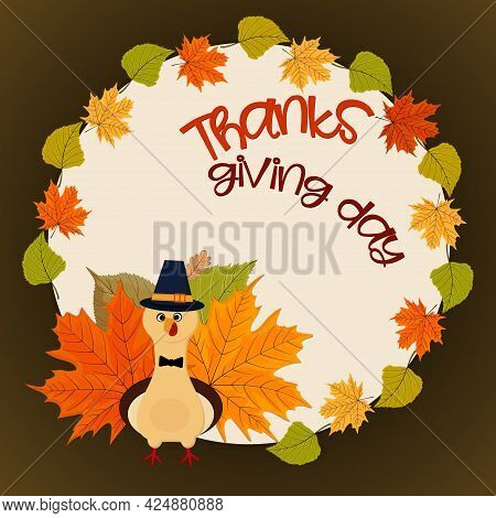Thanksgiving Card With Urkey And Autumn Leaves Frame.
