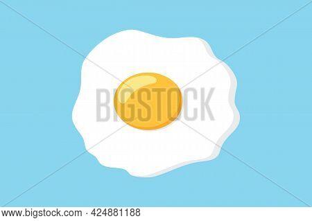 Fried Egg Isolated On Blue Background. Fried Egg Illustration Trendy And Modern Fried Egg Symbol For