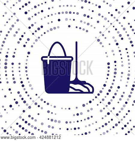 Blue Mop And Bucket Icon Isolated On White Background. Cleaning Service Concept. Abstract Circle Ran