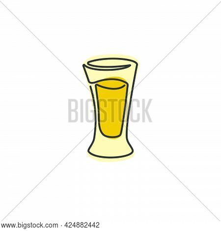 One Line Drawing Tequila Glass On White Background. Cartoon Graphic Sketch For Celebration Design. C