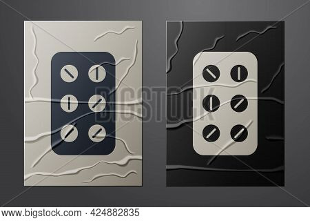 White Pills In Blister Pack Icon Isolated On Crumpled Paper Background. Medical Drug Package For Tab
