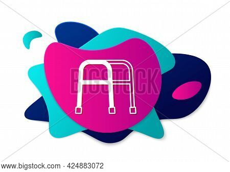 Color Walker For Disabled Person Icon Isolated On White Background. Abstract Banner With Liquid Shap