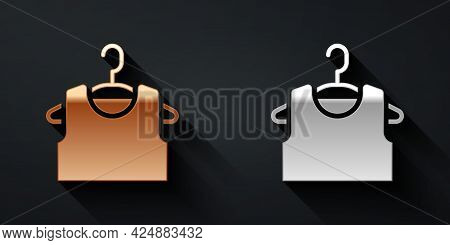 Gold And Silver Sleeveless T-shirt Icon Isolated On Black Background. Long Shadow Style. Vector