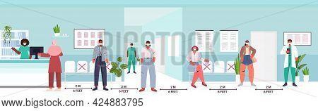 Mix Race Patients Keeping Distance To Prevent Coronavirus Social Distancing Concept
