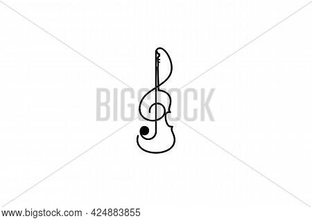 Violin Logo Isolated On White Background From Music Collection. Violin Icon Thin Line Outline Linear