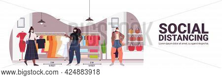Customers In Protective Masks Keeping Distance To Prevent Coronavirus Social Distancing Shopping Con