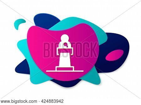Color Speaker Icon Isolated On White Background. Orator Speaking From Tribune. Public Speech. Person