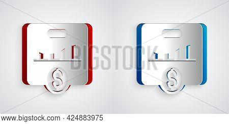 Paper Cut Kpi - Key Performance Indicator Icon Isolated On Grey Background. Paper Art Style. Vector