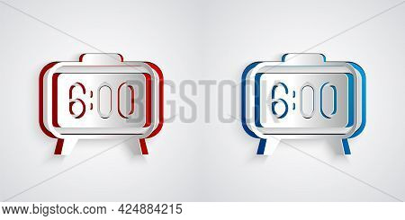 Paper Cut Digital Alarm Clock Icon Isolated On Grey Background. Electronic Watch Alarm Clock. Time I