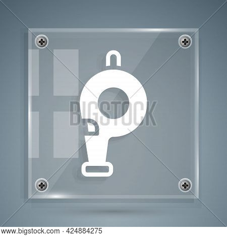 White Whistle Icon Isolated On Grey Background. Referee Symbol. Fitness And Sport Sign. Square Glass