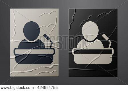 White Speaker Icon Isolated On Crumpled Paper Background. Orator Speaking From Tribune. Public Speec