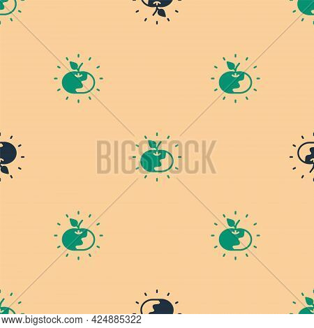 Green And Black Poison Apple Icon Isolated Seamless Pattern On Beige Background. Poisoned Witch Appl