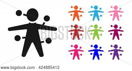 Black Voodoo Doll Icon Isolated On White Background. Set Icons Colorful. Vector