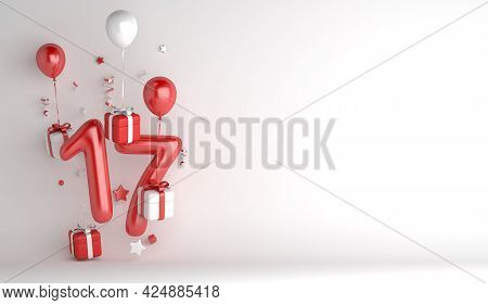 Indonesia Independence Day Decoration Background With 17 Balloon Number Gift Box, Firework Rocket, C