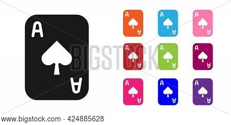 Black Playing Cards Icon Isolated On White Background. Casino Gambling. Set Icons Colorful. Vector