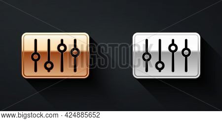 Gold And Silver Sound Mixer Controller Icon Isolated On Black Background. Dj Equipment Slider Button