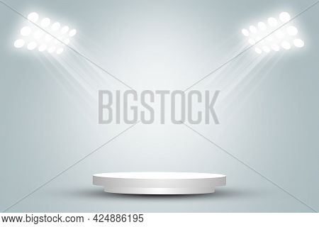Empty Space Of Round White Podium Or Pedestal In Studio Room With Spotlight In Gray Background. 3d I