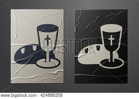 White Goblet And Bread Icon Isolated On Crumpled Paper Background. Bread And Wine Cup. Holy Communio