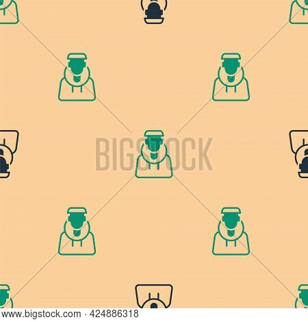 Green And Black Monk Icon Isolated Seamless Pattern On Beige Background. Vector