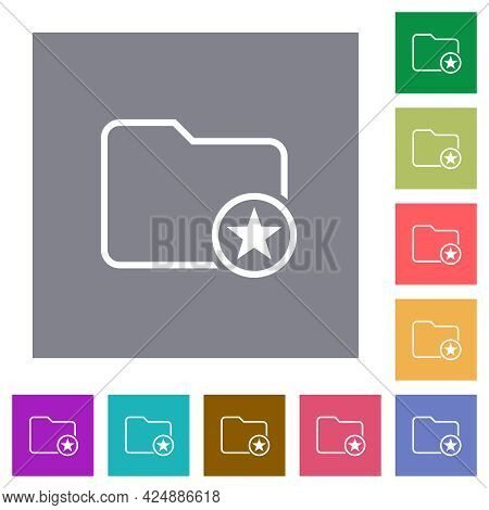 Mark Directory Outline Flat Icons On Simple Color Square Backgrounds
