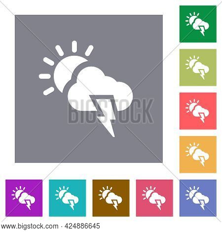 Sunny And Stormy Weather Flat Icons On Simple Color Square Backgrounds