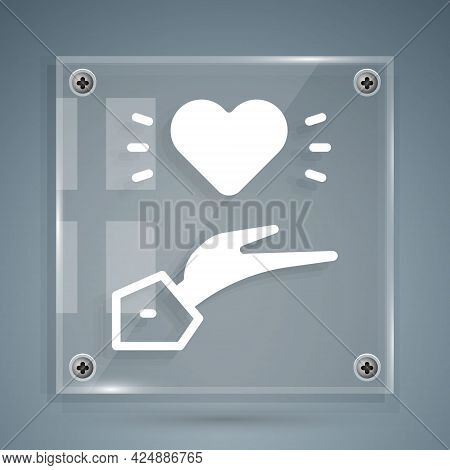 White Pleasant Relationship Icon Isolated On Grey Background. Romantic Relationship Or Pleasant Meet
