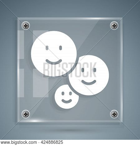 White Happy Friendship Day Icon Isolated On Grey Background. Everlasting Friendship Concept. Square