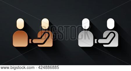 Gold And Silver Happy Friendship Day Icon Isolated On Black Background. Everlasting Friendship Conce