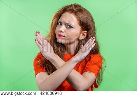 Pretty Woman Disapproving With No Crossing Hands Sign Make Basta, Negation, Enough Gesture. Denying,
