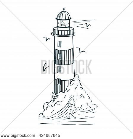 Line Art Lighthouse Engraving Style Vector Illustration. Hand Drawn Vintage Beacon On Island With Wa