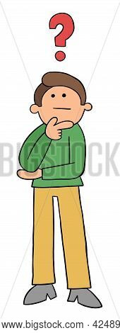 Cartoon Standing Young Man Thoughtful, Vector Illustration. Colored And Black Outlines.