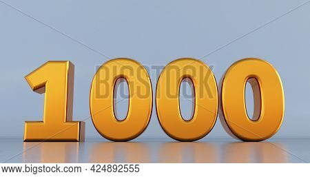 3d Render Of Golden One Thousand 1000 Isolated On A White Background.