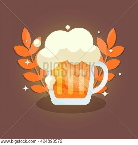 A Mug Of Beer With Foam And Wheat. International Beer Day. A Postcard With A Beer Mug, An Alcoholic