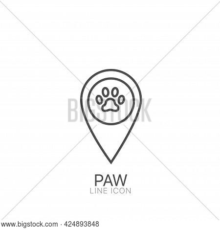 Paw Outline Vector Icon. Editable Stroke Pets Here Pinpoint Icon. Pet Shop Map Point Sign