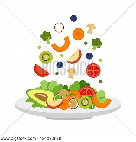 Vegetables And Fruits In Plate In Flat Design. Salad Bar For Healthy Meal. Vegetarian Dish. Healthy