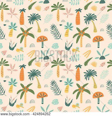 Cute Palm Tree Pattern. Cartoon Jungle Pattern. Rainforest Tree Background. Doodle Palm Trees Jungle
