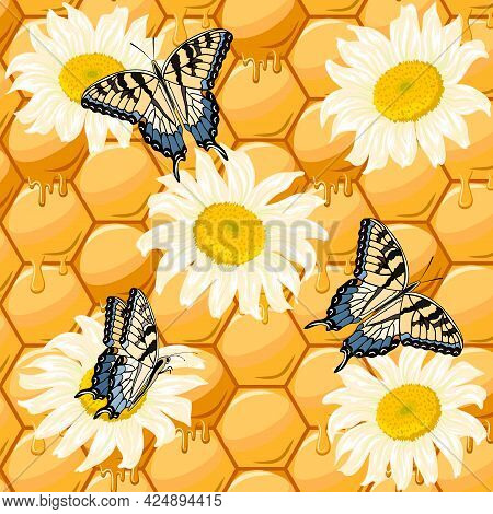 Chamomiles And Butterflies On A Honeycomb Background.vector Pattern With Camomiles And Butterflies O