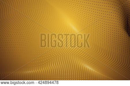 Abstract Golden Technology Particles Background. Dynamic Particles Wave. Vector Illustration