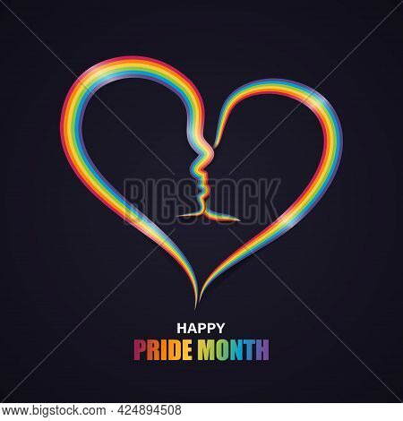Heart Shape With Couple Kiss In Rainbow Pride Ribbon. Lgbt, Lgbtq Gay Pride Flag. Happy Pride Month.