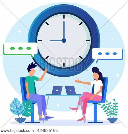 Flat Style Vector Illustration Of Discussion And Dialogue Speaking As Employee Communication Concept